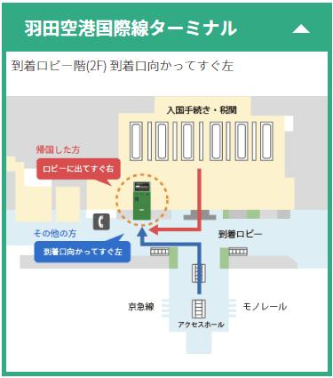 ポケットチェンジ羽田空港設置地図